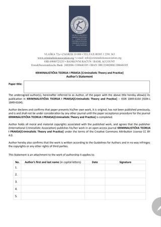 KRIMINALISTIČKA TEORIJA I PRAKSA [CRIMINALISTIC THEORY AND PRACTICE] AUTHOR'S STATEMENT