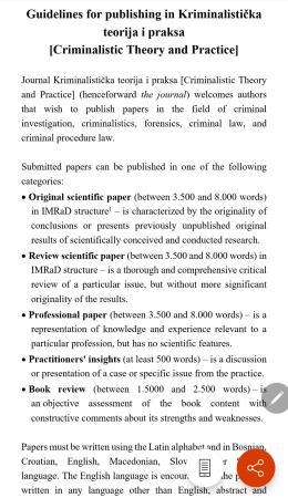GUIDELINES FOR PUBLISHING IN KRIMINALISTIČKA TEORIJA I PRAKSA [CRIMINALISTIC THEORY AND PRACTICE]